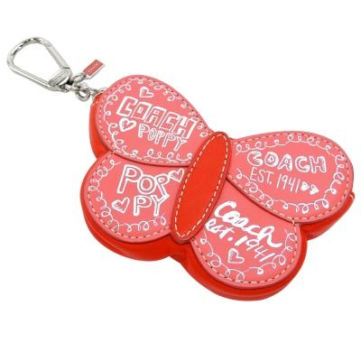 COACH POPPY 蝴蝶型皮革零錢鑰匙扣(橘紅)