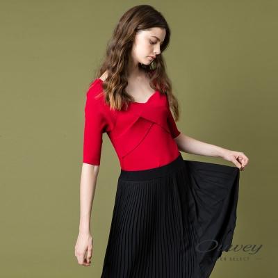 OUWEY歐薇 性感V領五分袖針織上衣(紅)