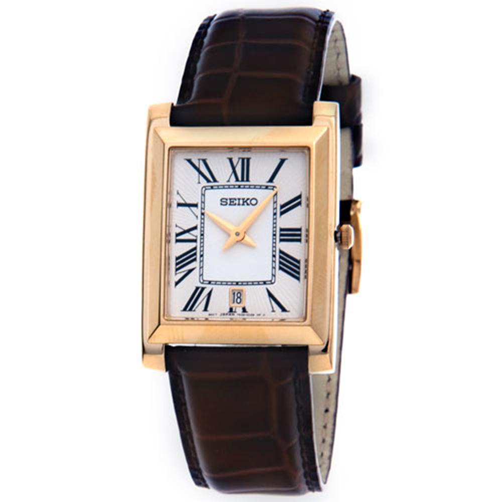 SEIKO 典藏TANK藍寶鏡面超薄時尚腕錶(SKP361P1)-白x金框/28mm