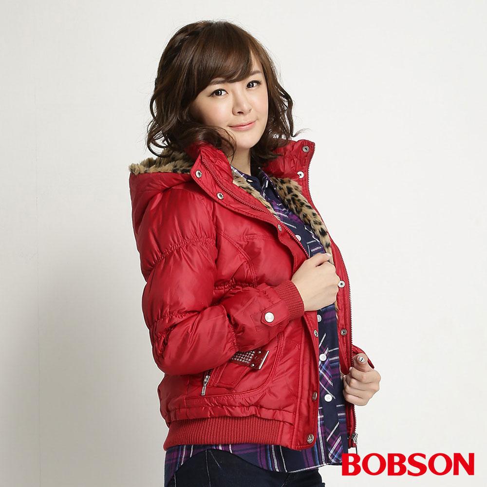 BOBSON女款配鑽羽絨外套-紅