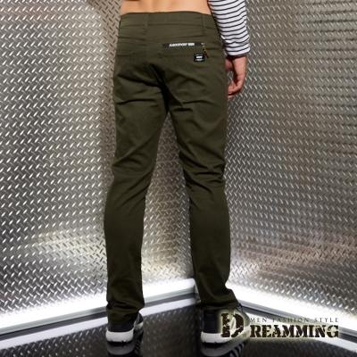Dreamming 美式風潮彈力伸縮休閒長褲-軍綠