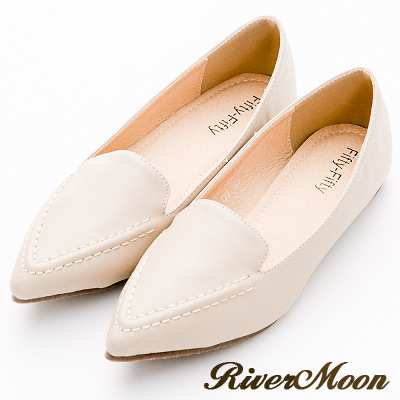 River&Moon尖頭鞋-極簡素面縫線樂福平底鞋-米杏