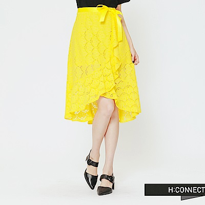 H:CONNECT 韓國品牌 女裝 -蕾絲綁帶不規則中長裙-黃