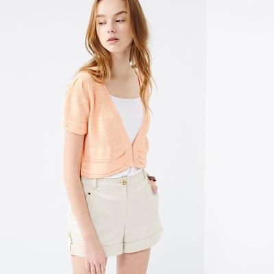 百搭簡約抽皺短版短袖針織外套 兩色