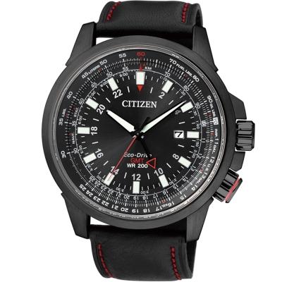 CITIZEN PROMASTER 光動能雙時區腕錶(BJ7076-00E)-黑/45mm