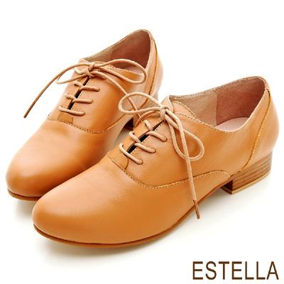 ESTELLA-英倫美學-全真牛皮綁帶牛津低跟鞋