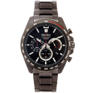 SEIKO 黑色疾風競速風格的計時手錶(SSB311P1)-黑面X灰黑框/44mm