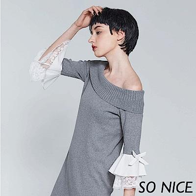 SO NICE一字領針織拼接袖洋裝-動態show