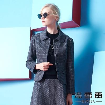 麥雪爾  圓領素面織紋短版羊毛外套
