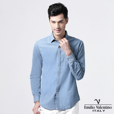 Emilio Valentino 范倫提諾經典牛仔襯衫-藍