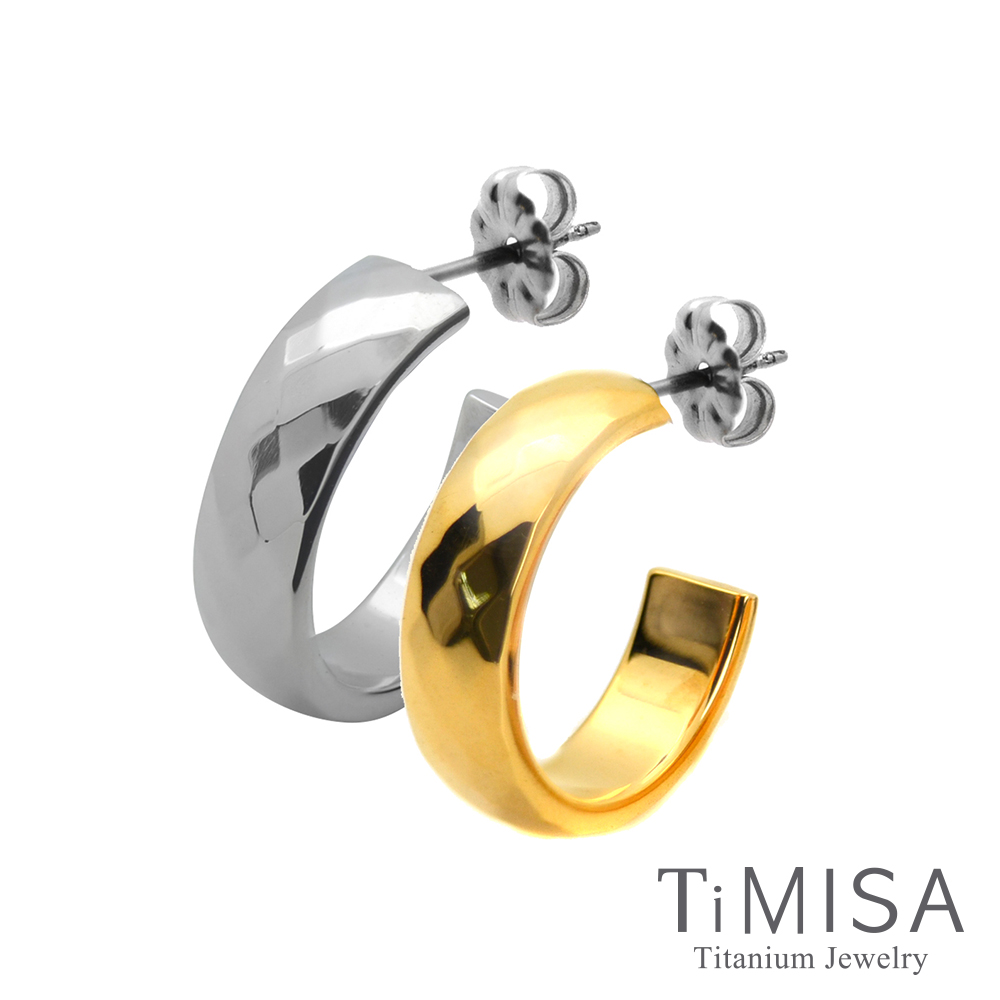 TiMISA 格緻真愛-寬版(雙色)純鈦耳環一對