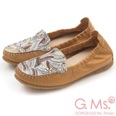 G.Ms.MIT系列-變形蟲印花牛皮莫卡辛鞋-好搭棕