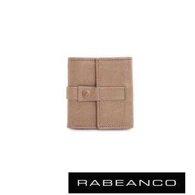 RABEANCO-典雅復刻牛皮多層短夾-灰杏