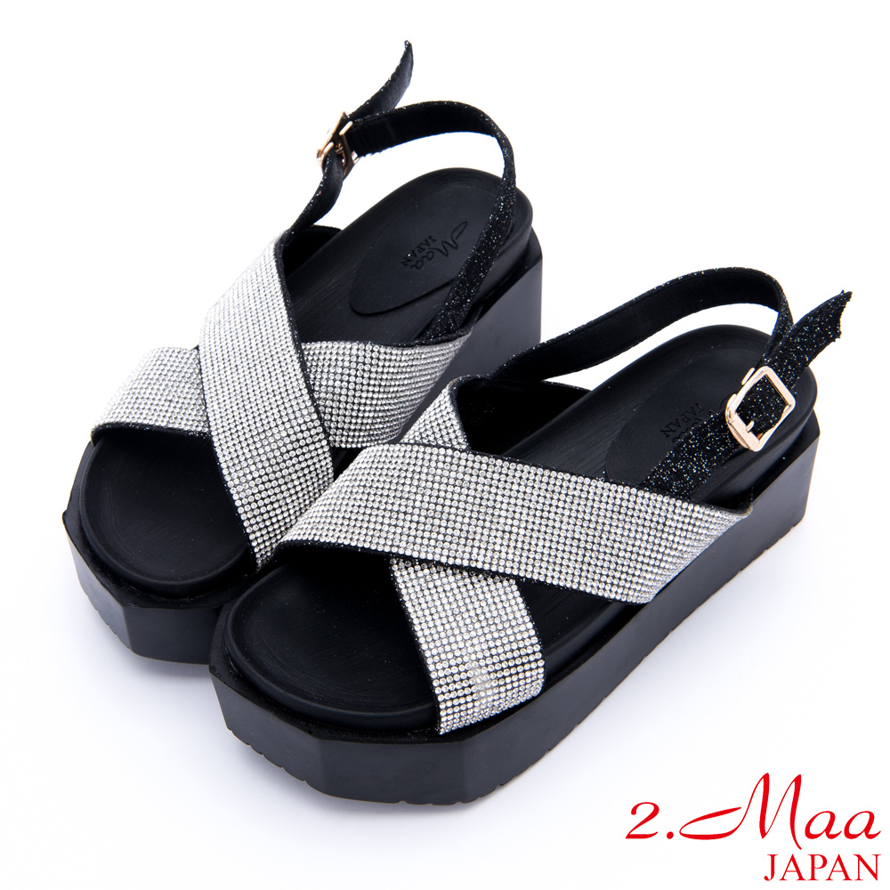 2.Maa-星空水鑽貼飾時尚厚底涼鞋-銀