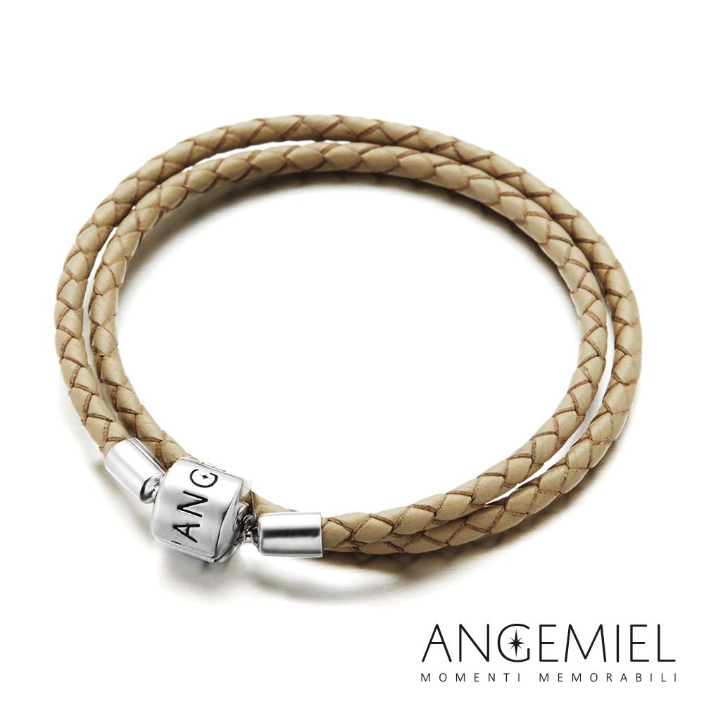 Angemiel安婕米 義大利純銀珠飾 雙圈皮革手環(米色)