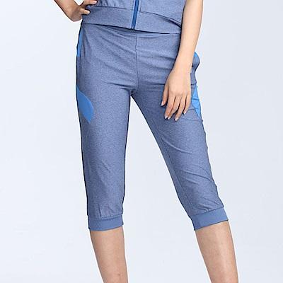【TOP GIRL】麻花針織運動五分褲-麻花淺藍