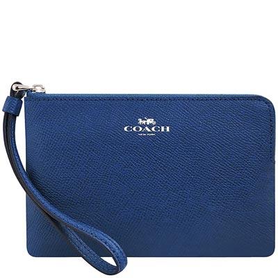 COACH 藍色防刮皮革手拿包