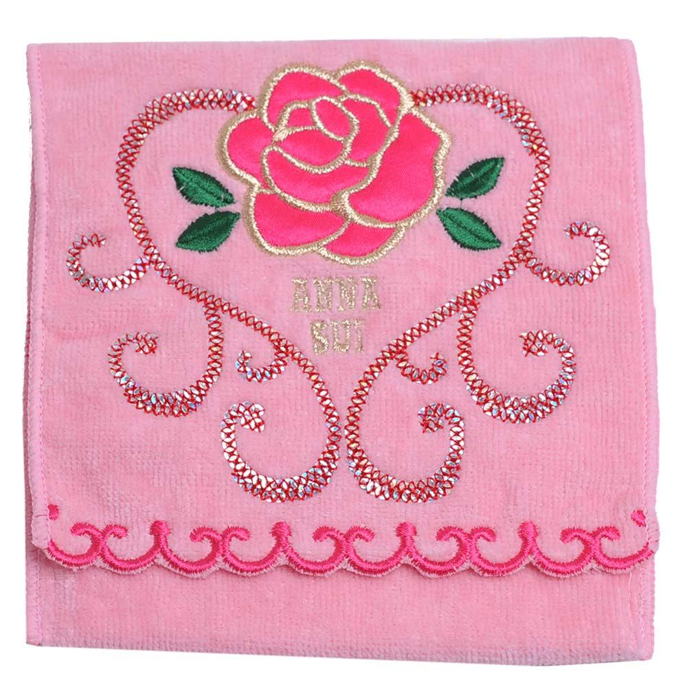 ANNA SUI 優美玫瑰刺繡亮片愛心圖騰機能方巾袋(粉紅)