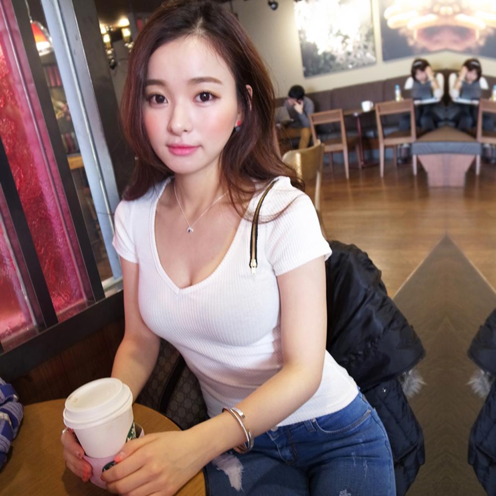 拉鍊設計感直紋棉T恤 (共二色)-Sexy JADE