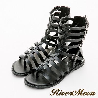 River&Moon涼鞋-經典編織魚骨中筒平底羅馬涼鞋-黑