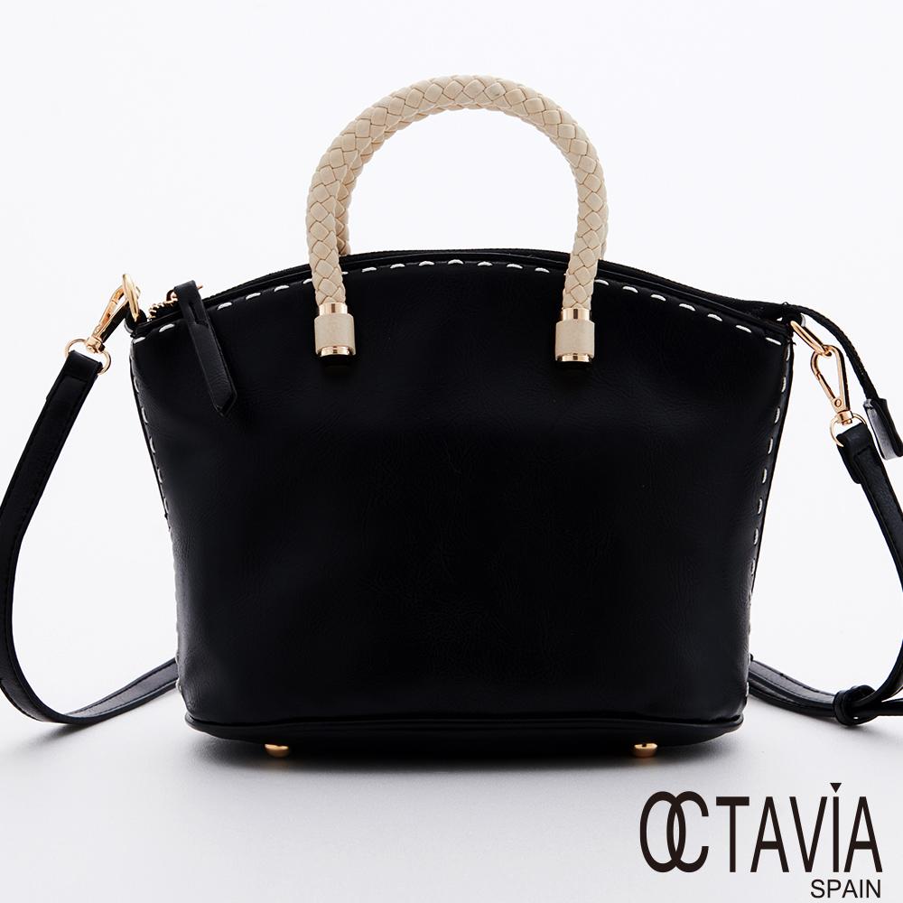 OCTAVIA - 海邊散步 編織刷色貝殼手提肩斜背三用包 - 珍珠黑