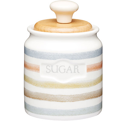 KitchenCraft 方糖木蓋陶罐(復古條紋)
