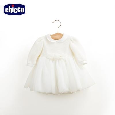 chicco蓬蓬紗裙洋裝-米白(12-24個月)