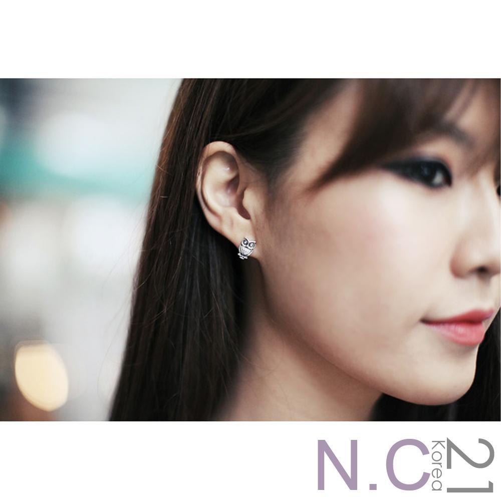 【N.C21】仿舊金屬小巧耳環九件組 (銀色)
