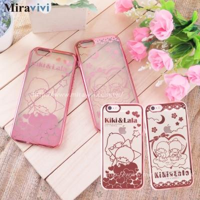 三麗鷗iPhone 6/6s 時尚質感電鍍雷雕保護套-雙子星