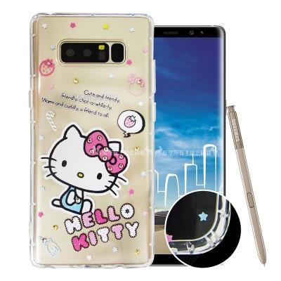 Hello Kitty貓 Samsung Note8 水鑽空壓手機殼(塗鴉)