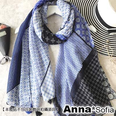 AnnaSofia 幕日圖騰 流蘇墬大披肩圍巾(藍系)