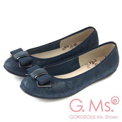 G.Ms. MIT系列-印花圖騰羊皮飾釦蝴蝶結豆豆娃娃鞋-藍色
