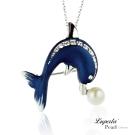 大東山珠寶 淡水珍珠施華洛世奇墬飾胸針兩用款 海豚灣之戀