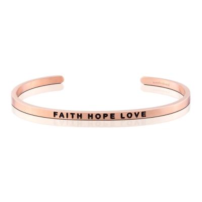 MANTRABAND Faith Hope Love 美國悄悄話手環 激勵箴言玫瑰金色手環