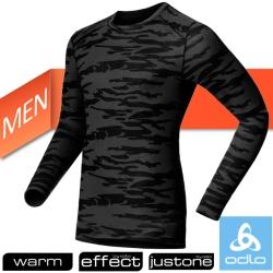 【瑞士 ODLO】WARM EFFECT 男圓領專業機能型銀離子保暖內衣/黑迷彩