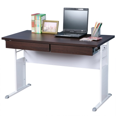 Homelike 巧思120x60辦公桌(附二抽屜)-胡桃桌面/亮白桌腳