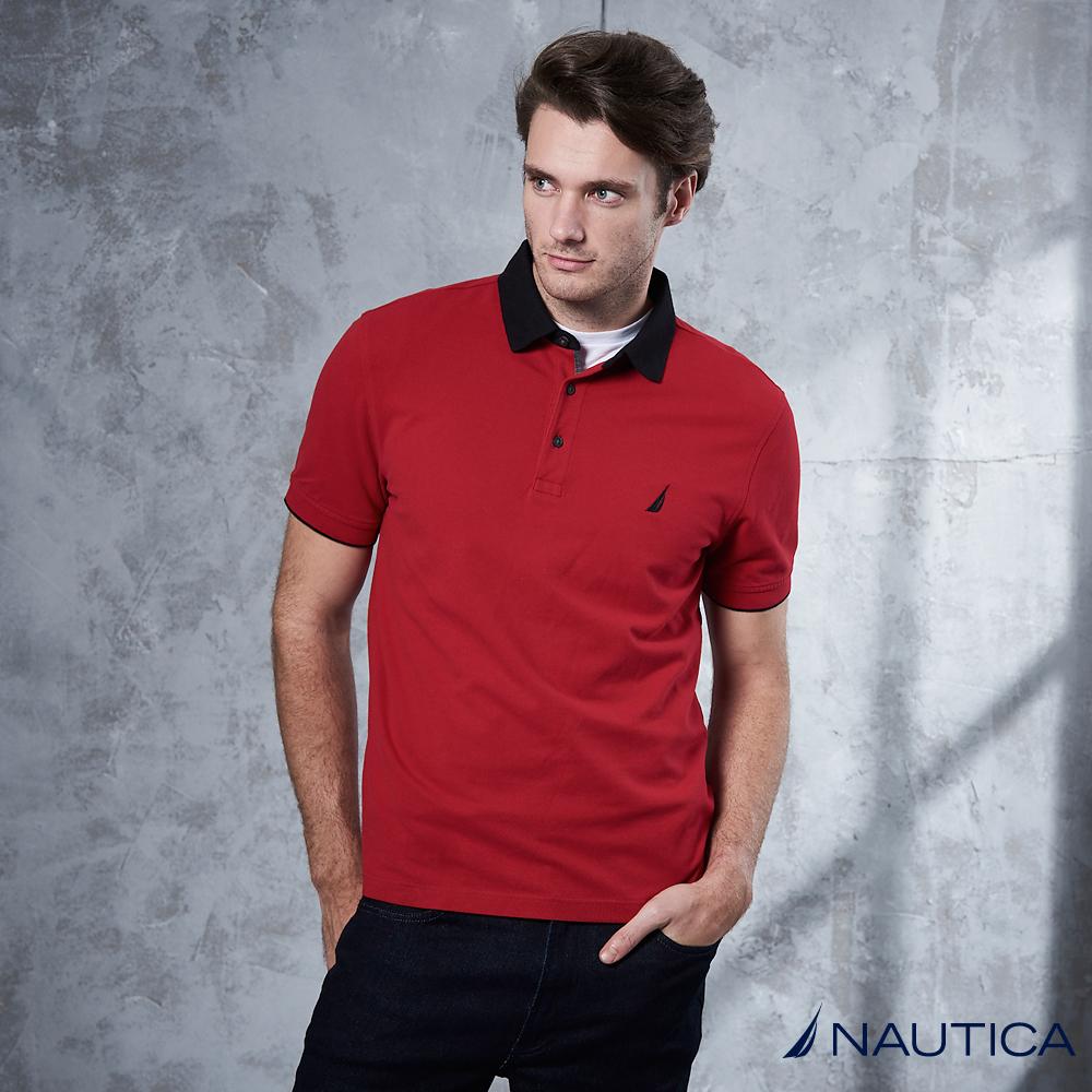 Nautica 簡約素色短袖POLO衫 -火紅