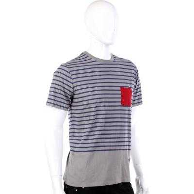 CERRUTI 1881 灰色藍條紋拼接撞色口袋短袖T-Shirt