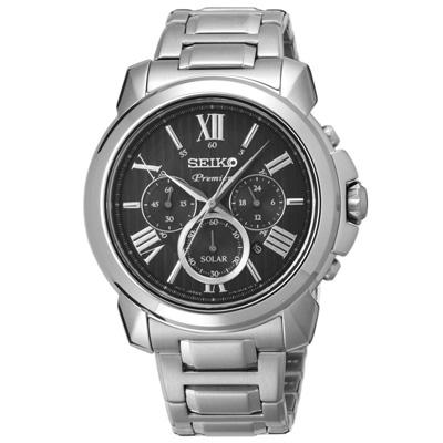 SEIKO 別緻經典時尚太陽能腕錶-SSC597P1-43mm