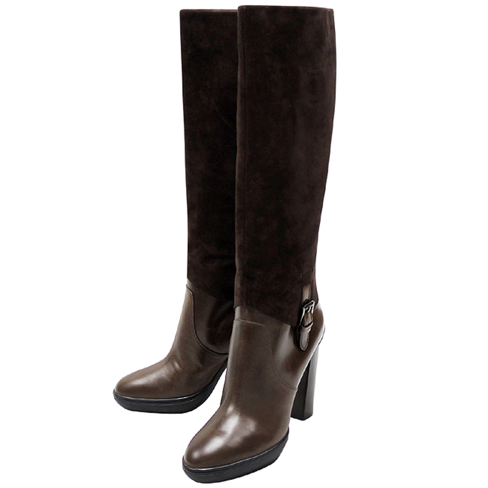 TODS 巧克力色麂皮厚底時尚高跟長靴-40.5號