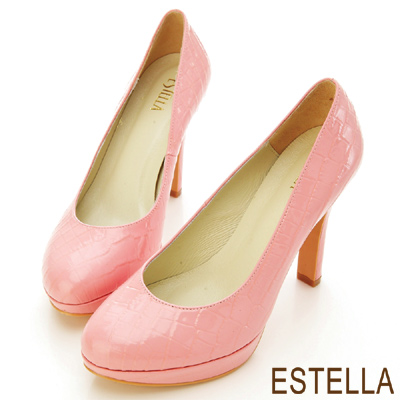 ESTELLA-歐美時尚-MIT牛漆皮鱷魚紋厚底高跟鞋-粉