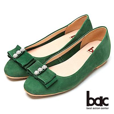 bac時尚美人-珍珠水鑽點綴平底包鞋-綠色