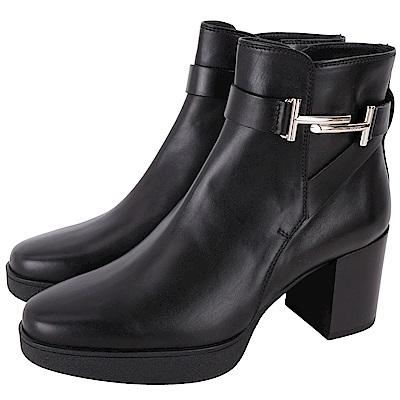 TOD'S DOUBLE T 金屬設計牛皮粗跟短靴(黑色)