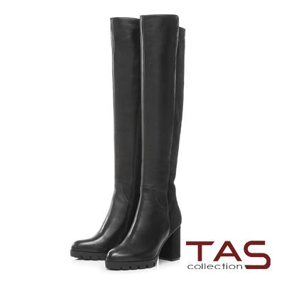 TAS 前高後低異材質拼接高跟膝上靴-時尚黑