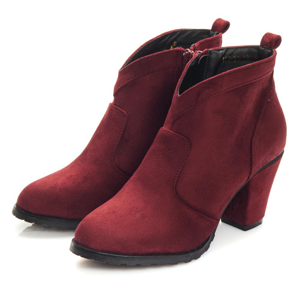 JMS-耶誕必備V領口修腿踝靴-酒紅色