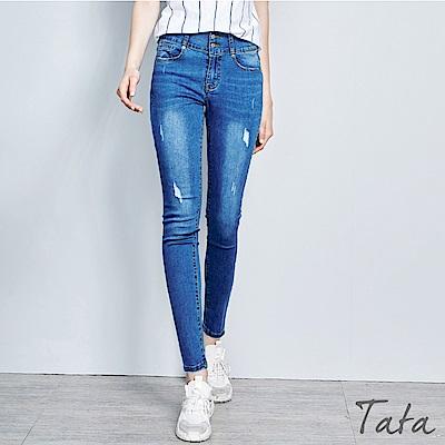 百搭排扣素面窄管牛仔褲-TATA