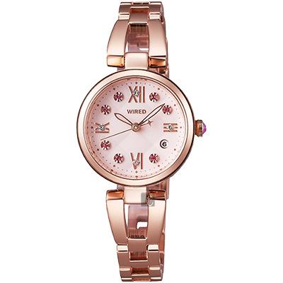 WIRED f 東京聖誕限定晶鑽女錶(AY8014X)-粉紅x玫塊金/26mm