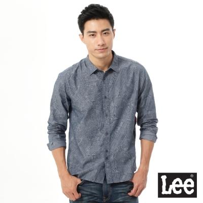 Lee 長袖塗鴉線條襯衫UR-男款-藍色