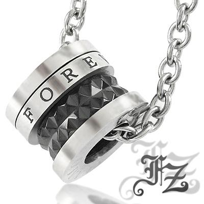 【FZ】永恆光圈白鋼項鍊(黑)