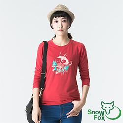 【SNOWFOX 雪狐】質輕透氣不悶熱 防曬女款長袖圖T恤 ATL-81650W 紅